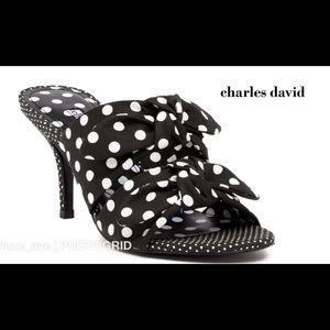 🆕 Charles David Corona Blk / Wh Polka Dot Sandal
